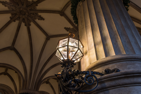 The old lantern in dark room, Hamburg Germany .