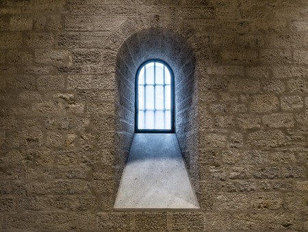 The old and ancient window in a church . Stockfoto