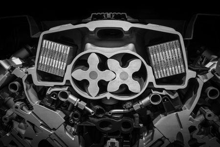 Engine with rotor of a modern car .
