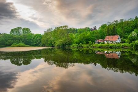 Pond  in Teutoburg Forest nearby Externsteine rocks, Germany .