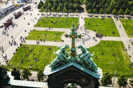 People rest near Berlin Cathedral Berliner Dome in Berlin ,Germany. May 2014 Stock Photo