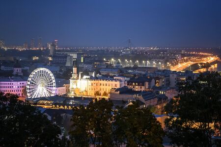 Night View of the old Podil district of the Kyiv city, Ukraine,.