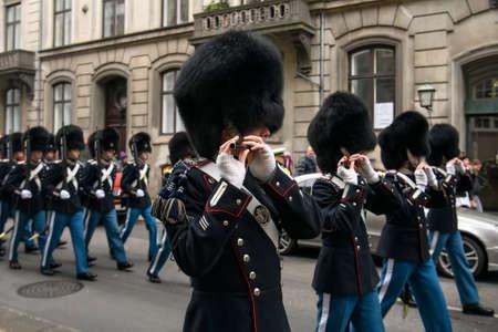 The Royal Guard, Den Kongelige Livgarde, is marching during the honor guard ceremony. Copenhagen, Denmark.