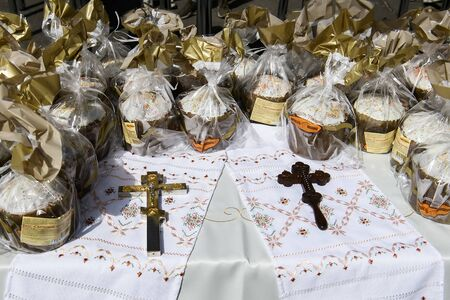 Ukrainian traditional Easter breads before the sacrament of consecration. Kyiv, Ukraine on April 11, 2020.
