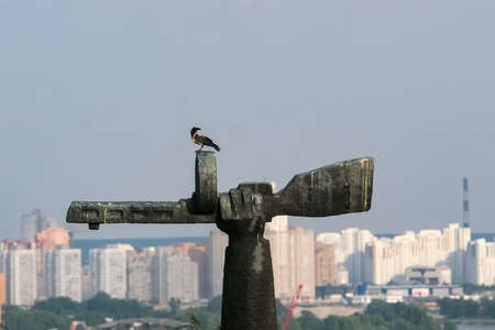 The crow sits on a monument at the World War II Museum in Kyiv, Ukraine.