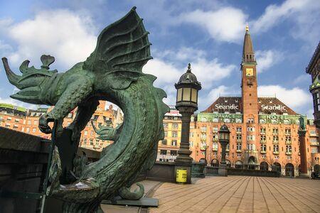 Bronze chimera Dragon figures statues in front of the Copenhagen City Hall, Denmark. Stock Photo