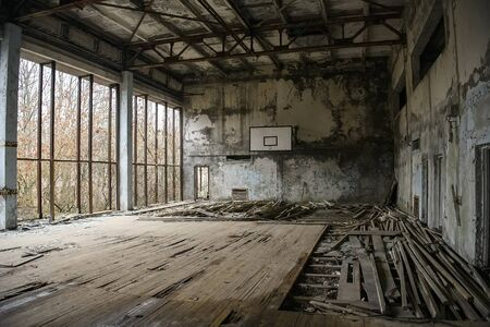 Abandoned Gym in ghost town Prypiat in Chornobyl exclusion zone. Pripyat, Ukraine, Stock Photo