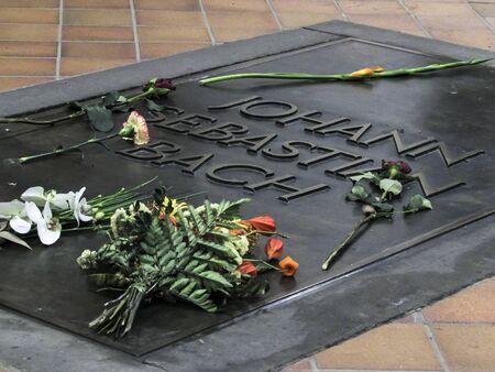 Johann Sebastian Bach grave in Lutheran St. Thomas Church Thomaskirche in Leipzig, Germany. Stock fotó