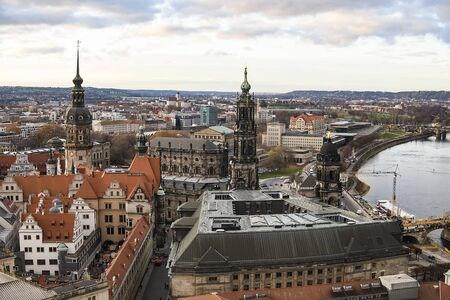 Panoramic view of Dresden city from view platform of lutheran church of Our Lady Frauenkirche, Germany.