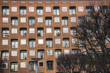 Residential buildings of modern architecture in Copenhagen, Denmark.