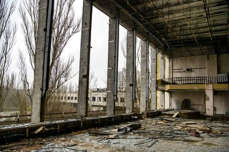Interior of Palace of Culture in Prypiat in exclusion zone, near Chernobyl nuclear power plant, Ukraine.