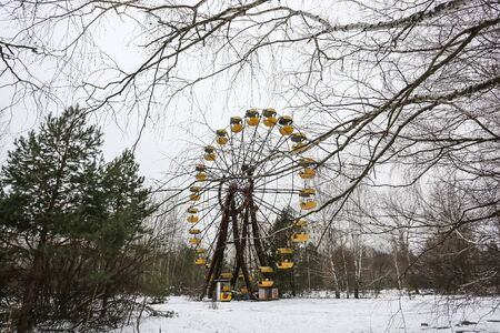 Abandoned amusement park in ghost town Prypiat. Priryat, Chornobyl exclusion zone.
