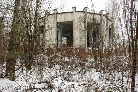Abandoned ghost town Prypiat. Overgrown trees and collapsing buildings. Pripyat, Chornobyl exclusion zone.
