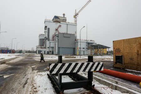 Construction of Liquid Radioactive Waste Treatment Plant at the Chernobyl nuclear power plant in Ukraine. Imagens - 150724545