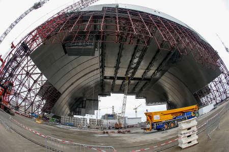 Construction of New Safe Confinement over the remains of the Chernobyl nuclear power plant in Ukraine.