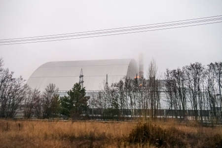 New safe confinement arch over reactor 4 of Chornobyl Nuclear Power Station. Chernobyl, Ukraine, Imagens