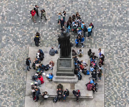 Aerial view of tourists near the statue of Martin Luther in Neumarkt square in Dresden, Germany,
