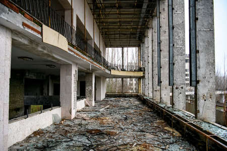 Interior of Palace of Culture in Prypiat in exclusion zone, near Chernobyl nuclear power plant, Ukraine. December 2019