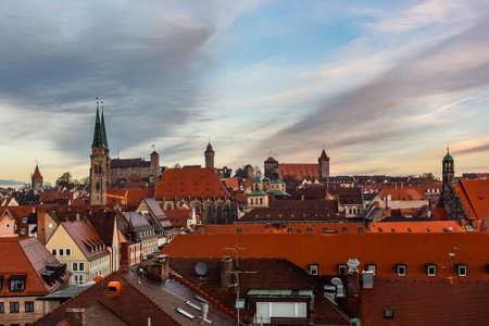 View at historical center of old German city Nuremberg and Nuremberg castle, Bavaria, Germany. November 2014