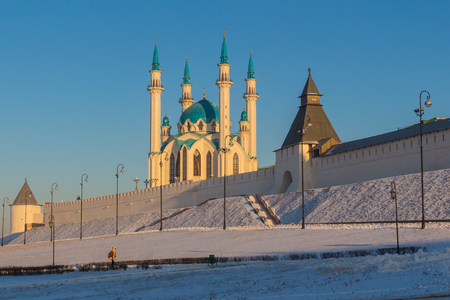 passerby: Scenic view of Kazan kremlin and Qol Sharif mosque.