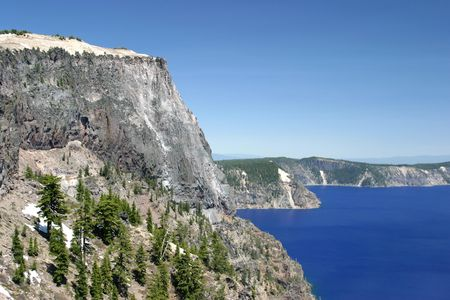crater lake: West side Crater lake Stock Photo