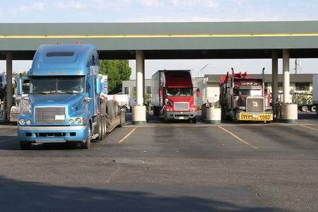 road warrior: Trucks at fuel station