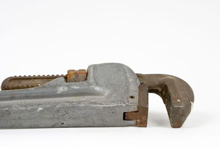 close up detail of a pipe wrench