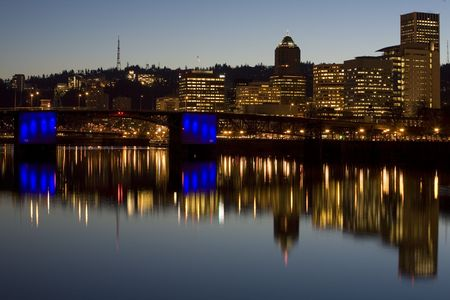 bridger: Morrison Bridger, downtown Portland Oregon at Dusk