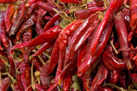 pungency: close up of paprika sold on hungarian streets