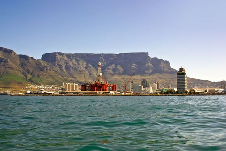 mining ship: panorama of city of cape town from the bay Stock Photo