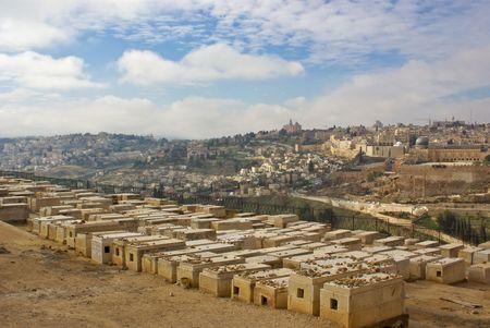 legendary jewish cemetery on olive mount in kidron valley, jerusalem, israel photo