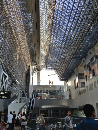 grid: Inside the Kyoto station with its  exposed steel beamed roof called the Matrix is meant to reflect both the structure of the station and the grid like layout of Kyotos street network. The futuristic design of this building was conceived by Japanese archit