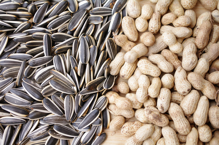 long beans: Peanuts and sunflower seeds