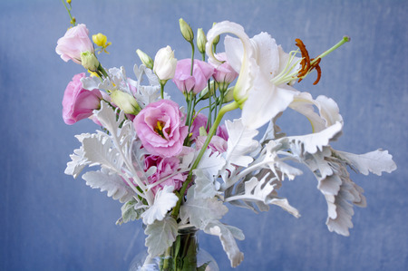 asteraceae: Lily and Eustoma Russellianum bouquet Stock Photo