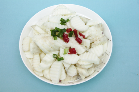 A plate of Chinese yam Stock Photo