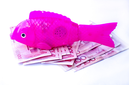 Electric acoustooptic simulation fish toy with bank note