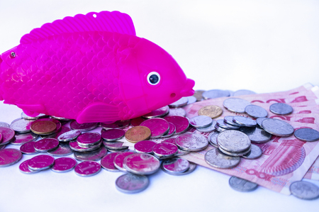 Electric acoustooptic simulation fish toy with coins and bank note