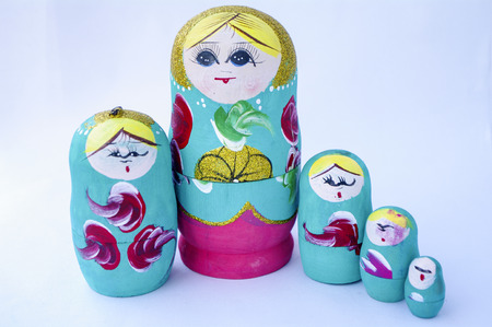 discrete: Russia doll on white background Stock Photo