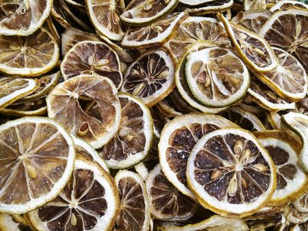 ascorbic acid: Dried lemon slices close up view