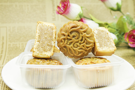 Moon cakes served on a plate