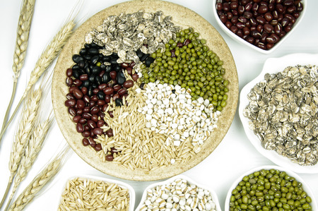 Variety of grains close up view