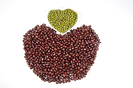 Red beans in heart shape Stock Photo
