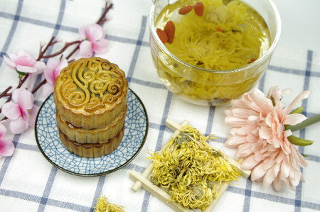 Moon cake and golden chrysanthemum tea