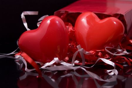 Red Hearts with Gift Bag Stock Photo