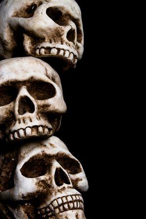 a pile of human skulls