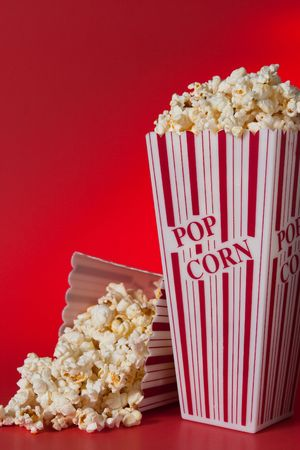 Pop corn bags against red background