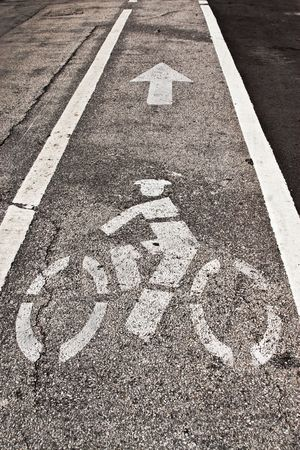 bicycle lane: Bicycle Lane Sign on the Road Stock Photo