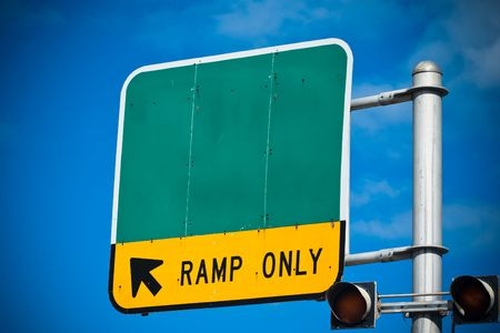 Blank highway or road sign showing ramp only indication Stock Photo