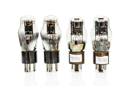 Vacuum electronic preamplifier tubes. Isolated image on white background photo