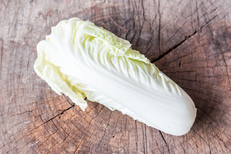 romaine: heart of romaine lettuce on a rustic wooden board Stock Photo